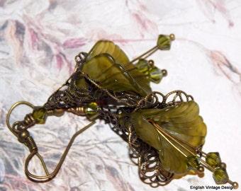 Lucite Flower Earrings, Victorian Earrings, Boho Earrings, Drop Earrings, Handmade Earrings, Olive Dangle Earrings. Hand Painted. Vintage