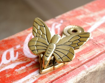 Brass Butterfly Note Holder or Memo Clip, Wall Mounted Photo Holder, Brass Paperweight