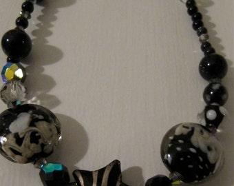 "Black Onyx Beads & Lampwork beads 30"" length"
