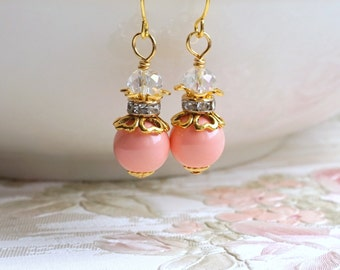 Coral Pearl Bridesmaid Earrings Bridesmaid Jewelry Bridesmaid Gift Swarovski Pearl Earrings Coral Crystal Gold Jewelry Beach Wedding Party