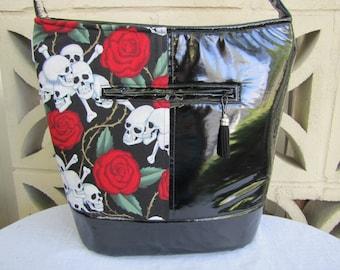 Black with White Skulls shoulder bag