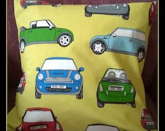 British Mini Car Cushion Cover, Iconic Car Cushion Cover, Mini Car Pillow Cover, Classic Car Cushion Cover, Vintage Car Cushion Cover