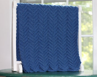 Baby Afghan, Blue Knit Baby Blanket, Soft Baby Blanket, Crochet Throw, Crib Bedding, Knitted Blanket, Chevron Blanket Crib Blanket Baby Gift