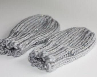 Baby Mittens Gray for 12 Months, Light Gray Sparkle Thumbless Mittens, Gray Sparkle Scratch Mittens, Knit Mittens for ages 12-18 Months