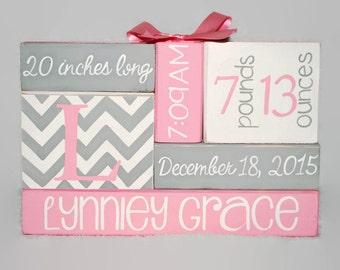 Chevron Monogram Pink Gray Mod Nursery Baby Birth Stat, baby name blocks, new baby gift, new mom gift, wife gift, birth announcement sign