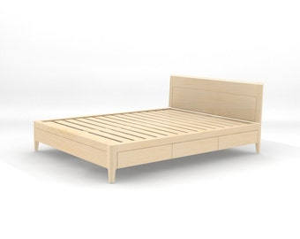 maple storage bed platform bed no 2 modern wood bed full - Platform Bed Full