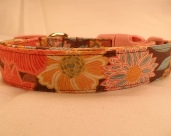 Dog Collar Colorful Spring Flowers on Brown