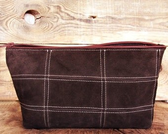 Cosmetic bag, Personalized toiletry bag, Dopp kit, Patchwork, Groomsmen gift, Shaving pouch, Leather case, Brown, Every day bag, Travel set