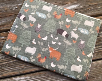 Burp Cloth ~ Animals//Nature//Farm//Sheep//Cow//Pig//Duck//Rooster//Chicken//Barnyard