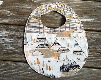 Bib ~ Two Toned/Quilted ~ Woodland//Geo//Tribal//Trees//Buck//Forest//TeePee//Camp//Native