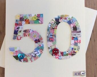 50th Birthday Patchwork card
