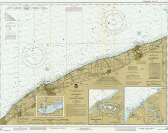 Lake Erie - 1985- Ashtabula to Chagrin River, Ohio -  Nautical Map Reprint  - Great Lakes #3 - 34