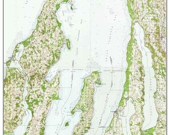 Grand Traverse Bay Michigan 1957 USGS Topo Map   Custom Composite   Reprint