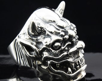 Oni Demon Japan Devil Silver Ring 925