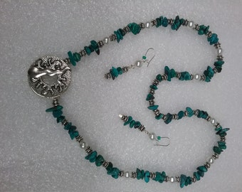 Turquoise chips necklace and earrings set, front toggle clasp, matching earrings, glass pearls metal beads long earrings statement necklace