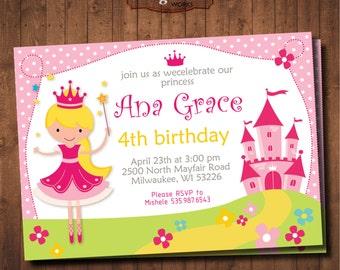 Princess Birthday Invitation. DIY card. for Girl. Digital Printable card