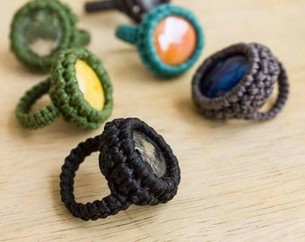 Micromacrame Ring, Crochet Ring, Macrame Ring, macrame jewelry, glass ring, many colors