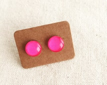 FREE SHIPPING - Fuschia Pink Glass Stud Earrings. Bright & colorful block color. Surgical Steel - Sensitive Ears - Free Postage