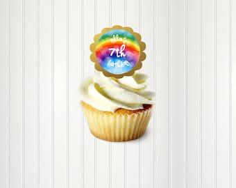 Rainbow Cupcake Toppers, Rainbow Stickers, RainbowTags, Rainbow Birthday Party, Rainbow Envelope Seals