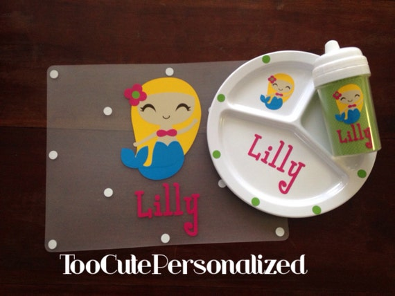 Child's Personalized Placemat, Divided Plate & Sippy Cup