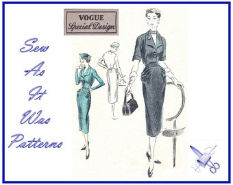 1950s Vogue Special Design S-4224 Front Buttoned Dress Paquin Pleats Large Collar Sleeves Slim Skirt Vintage Sewing Pattern Size 16 Bust 34