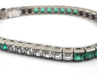 Signed Vintage Ciner Sterling Silver Green & Clear Rhinestone Tennis Bracelet