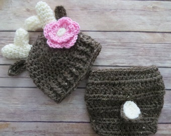 Crochet DEER Hat set, Diaper Cover, Baby Girl Photo Props, Shower Gift, bringing home baby outfit, Preemie, Newborn to 6 mo, baby girl deer