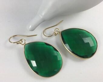Green Quartz Bezel Set Gemstone Earrings, Drop Earrings, Jewel Tone Earrings