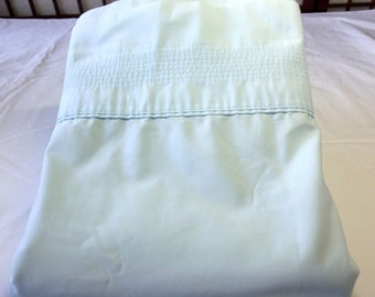 Vintage King Flat No Iron Percale Sheet in Light Blue By Springmaid