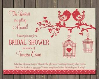 Bird Bridal Shower Invitation, Love Bird Bridal Shower Invite, Red and Tan Shower, Bird Cage, Vintage look Shower invitation
