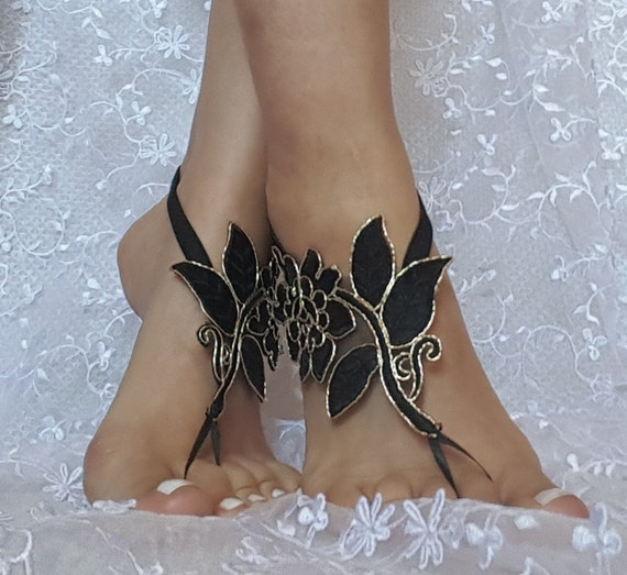 Black gold beach shoes, Unique design, lariat sandals, wedding bridal, bellydance, gothic, wedding shoes, summer wear, gothic bridal sandals