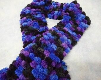 Purple blue and Black Pom Pom Scarf