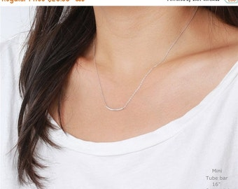 ON SALE Sterling silver curved bar tube - sterling silver necklace - everyday simple jewelry