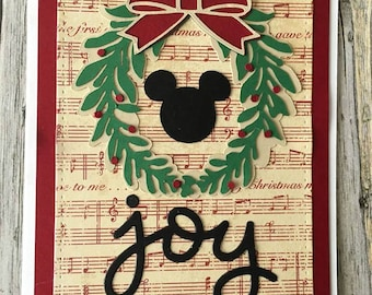 Mickey Mouse Christmas card-Mickey Mouse card-Joy card-wreath card-Mickey Mouse holiday card