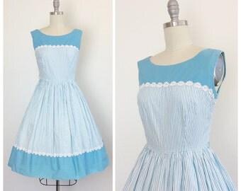 50s Blue & White Stripe Dress / 1950s Vintage Gingham Cotton Day Dress / Small / Size 6