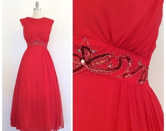 50s Red Chiffon Evening Gown / Maxi Dress / 1950s Vintage Sequin / Beaded Waist Band Party / Prom Dress / Medium / Size 6