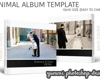 PSD 10x10 wedding album template minimal - photoshop template for professional photographers, album template, PSD album, minimal album PSD