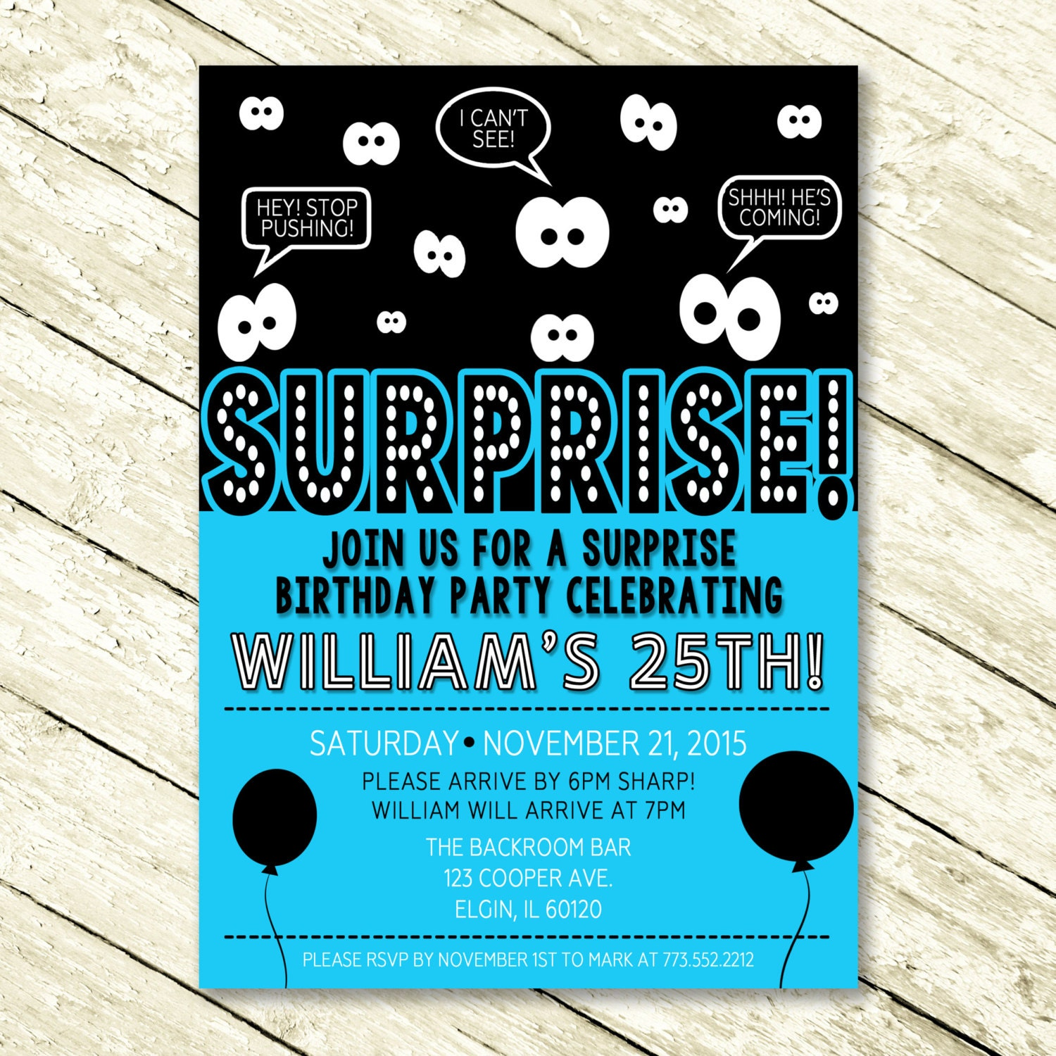 Surprise Birthday Party Invitation For Men And By