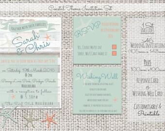 Printable Wedding Invitation Set - Coastal/Beach/Starfish Theme - Customisable