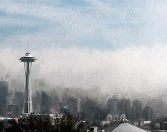 Foggy Seattle Image, Seattle Skyline Image, Seattle Cityscape