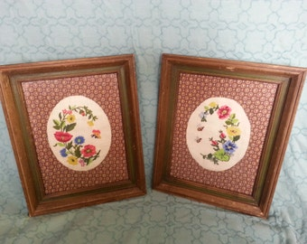 SALE!!  Vintage 1960's framed fabric and embroidered flowers, bees, butterflies set of 2