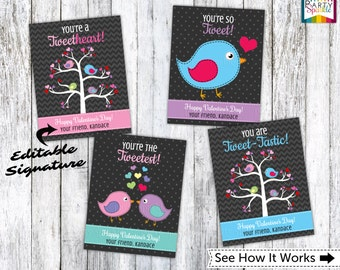 INSTANT DOWNLOAD Valentines Day Printable Cards Tweet Birds - Kids Personalized Digital Party Handouts - Editable .pdf file