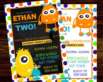 Monster Bash Birthday Invitation, Printable Monster Bash Invitation - Digital File (4 sales left)
