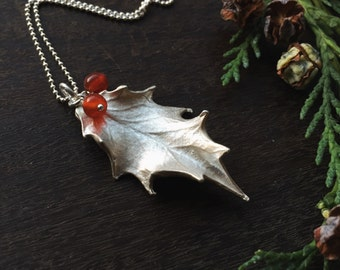 Sterling silver holly leaf necklace - christmas gift for her, holly leaves