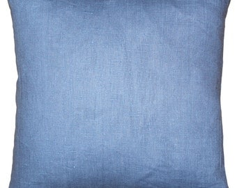 Tuscany Linen Pacific Blue 17x17 Throw Pillow
