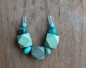 Geometric  necklace / pastel green blue turquoise  // Aqua // Minimal style jewelry // wood bead necklace
