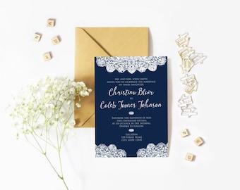 Printable Lace Wedding Invitation