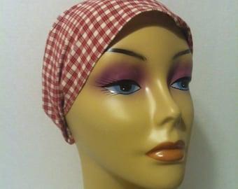 Boho Inspired Red Checkered Headband