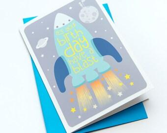 Children's Birthday Card - Its your Birthday Have a Blast // Boys Birthday Card // Girls Birthday Card // Space Birthday Card // Rocket Card