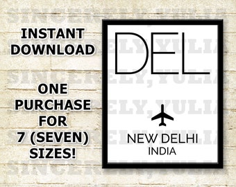 DEL New Delhi Airport Code Poster. International Airport Code. Wall Art Print. Sign. Digital Printable. You Print. Purchase 1 Get 7 Sizes.